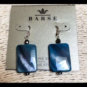 BARSE ABALONE STERLING EARRINGS HEMATITE ACCENTS